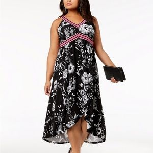 I.N.C. Plus Size Printed Midi Dress Black 0X XL